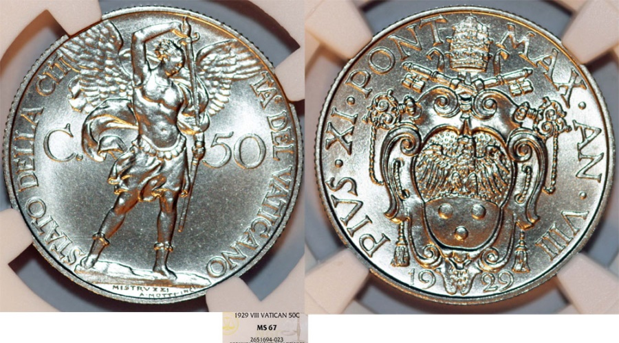 World Coins - Vatican City. Pope Pius XI (1922-1939). 50 Centimos 1929. NGC MS67!