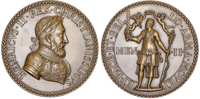 World Coins - FRANCE. Henri II (1519-1547-1559), Restrike of Bronze Complimentary Medal c.1552. UNC