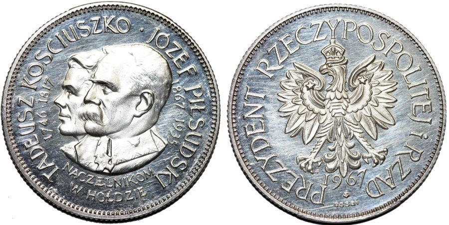 World Coins - Poland. Silver Medal awarded by the Polish Government in Exile, Tadeusz Kosciuszko and Jozef Pilsudski in 1967, The Franklin Mint. BU
