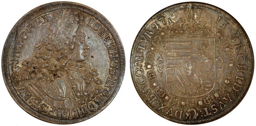 World Coins - H.R.E. Austria Tyrol. Charles VI (1711-1740). Silver Thaler 1711/2. NGC AU58, toned