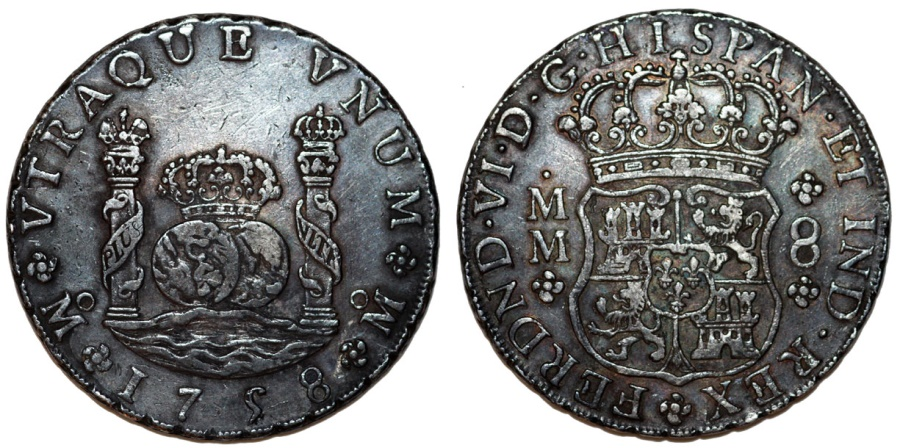 World Coins - MEXICO. Ferdinand VI. Pillar Coinage. Silver 8-Reales, 1758-Mo MM. Choice XF,  toned