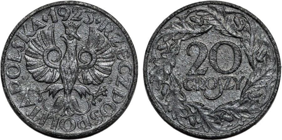 World Coins - Poland. Zinc Third Reich WWII issue 20 Groszy 1939. XF