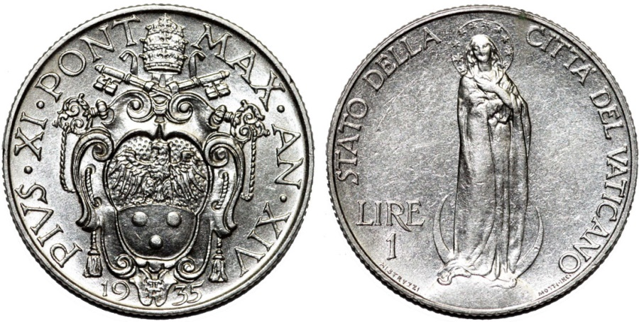 World Coins - Vatican City. Pope Pius XII (1939-1958). 1 Lira 1931 - VIRGIN MARY. Choice AU