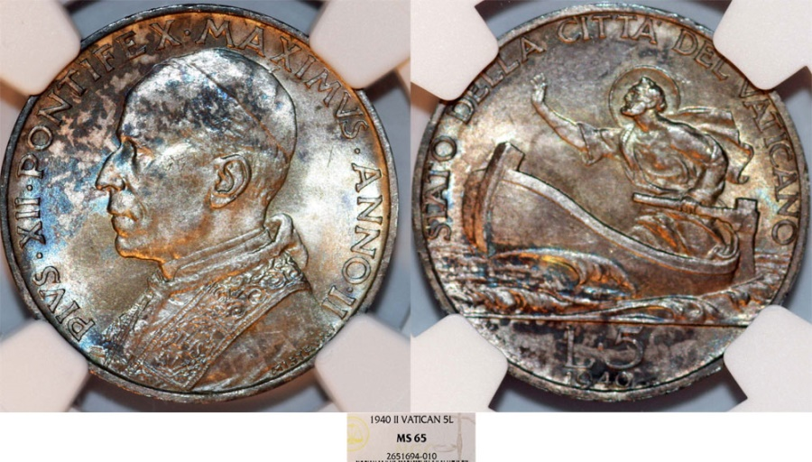 World Coins - Vatican City. Pope Pius XII (1939-1952). Silver 5 Lire 1940. NGC MS65, great toning