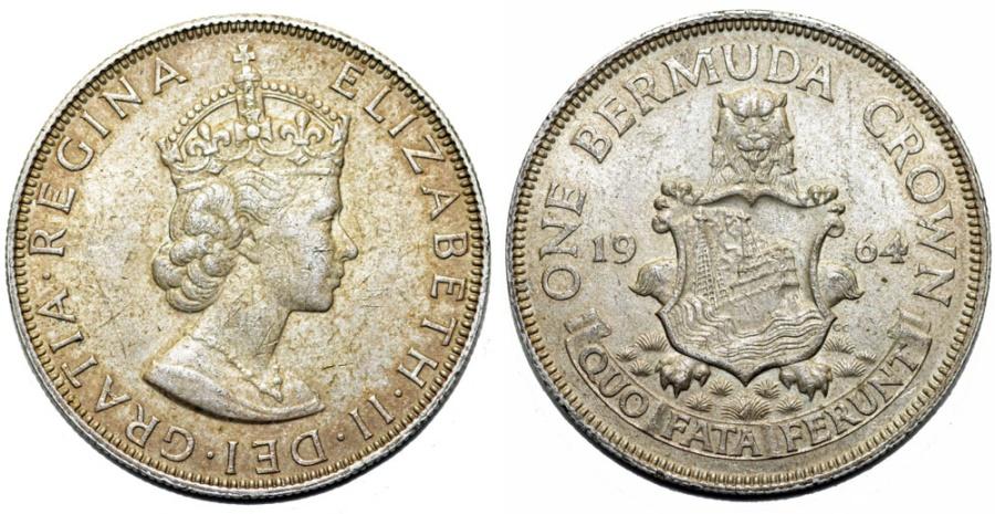 Bermuda Islands  Queen Elizabeth II (1952- )  Commemorative Silver Crown  1964  Choice UNC