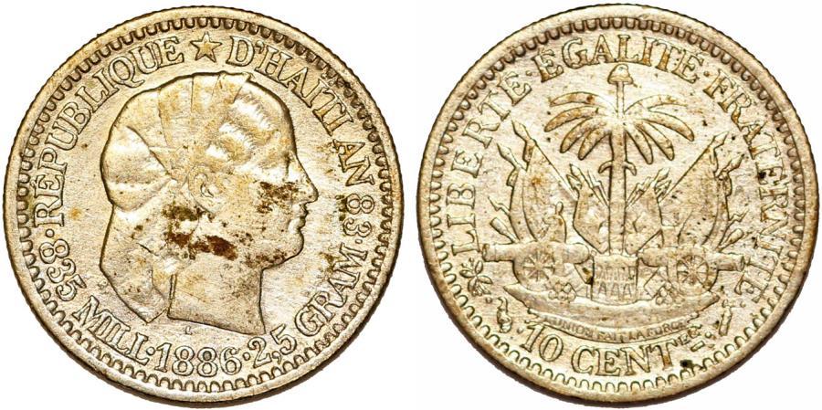 World Coins - Republic of Haiti (1863- ). AR 10 Cents AN78 (1881). Nice Choice XF.