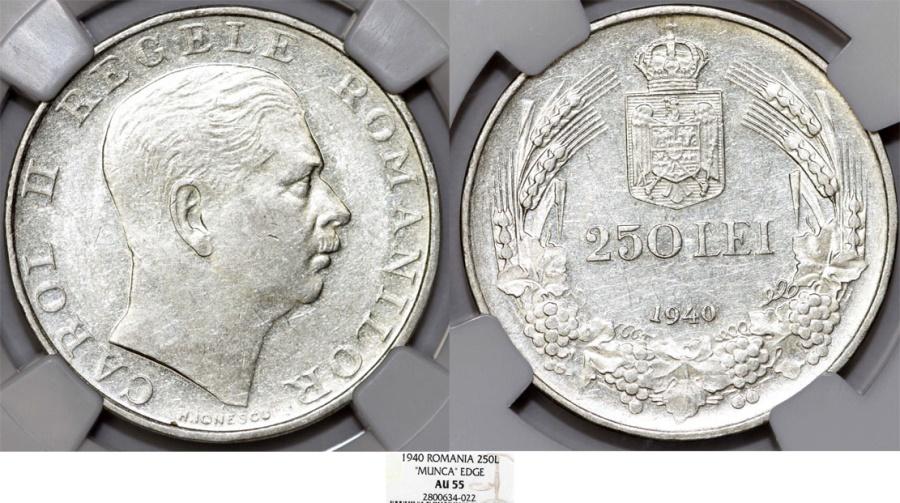 World Coins - Romania. king Carol II (1930-1940). AR 250 Lei 1940. NGC AU55