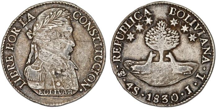 World Coins - Bolivia. Republic. Silver 4 Soles 1830/20 JL. Choice VF, toned