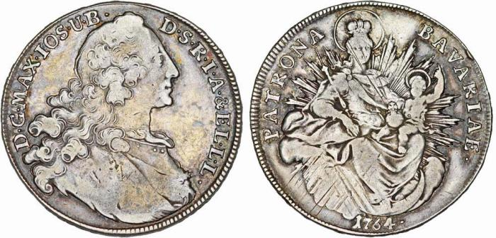 World Coins - Germany. State of Bavaria. Maximilian III. (1745-1777) AR Thaler 1764. VF