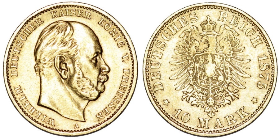 World Coins - Germany. Prussia. Wilhelm I (1861-1888) Gold 10 Mark 1875 A. XF.
