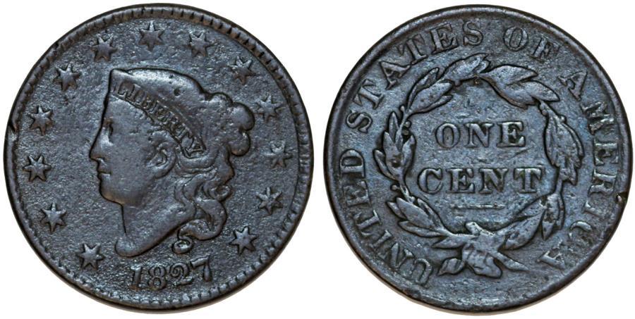 US Coins - USA. Coronet Head Cent 1827. VG+