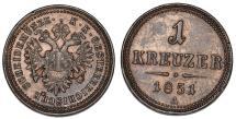 World Coins - Austria. Franz Joseph I. CU 1 Kreuzer 1851A. XF+