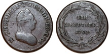 World Coins - H.R.E. Hungary. Smolnik mint. M. Theresa (1740-1780) Cu 1 Kreutzer 1780S. about VF