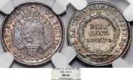 World Coins - Bolivia. Republic. AR 10 Centavos 1872 PTS FE. NGC MS64!