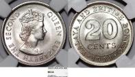 Malaya and British Borneo. CU-NI 20 Cents 1961. NGC MS64