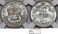 World Coins - Venezuela. Republic. 5 Centimos 1938. NGC  MS64!