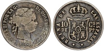 World Coins - Phillipines as Spanish Colony. Isabell II. AR 10 Centavo 1867. VF