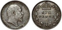 World Coins - Great Britain. King Edward VII (1902-1910) Silver 6 Pence 1902. Toned XF