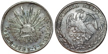 Mexico. Republic. AR 8 Reales 1827 Mo-JM. Choice VF, toned , better date
