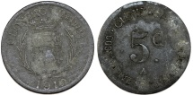 World Coins - France. Olonzac. Emergency Series Token: Zinc 5 Cent 1918. About VF, unclean