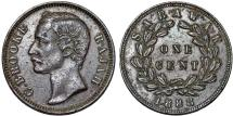 World Coins - Sarawak (North-West Borneo). Charles Rajah (1868-1917) Scarce AE Cent 1888. Choice XF details