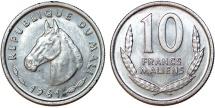 Mali. Republic. Al 10 Francs 1961. BU