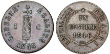 World Coins - Republic of Haiti. CU Centime AN 43 (1846). Choice VF.