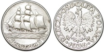 World Coins - Poland. II Republic. Ship. AR 5 ZLote 1936. AU.