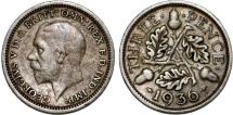 World Coins - Great Britain. King George V (1911-1935) Silver 3 Pence 1936. XF, toned