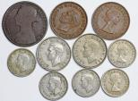 Great Britain. Lot of 10 Coins: 1/2  Penny to 1 Shilling. Fine to AU