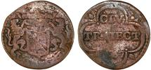 World Coins - NETHERLANDS. Utecht ProvinceCopper Duit 1657. Good, RARE!