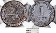 World Coins - Kingdom of Netherlands. Wilhelm III. AE 1 Cent 1883. NGC AU585BN.