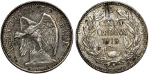 World Coins - Chile. Republic. Nice  AR 5 Centavos 1919. Good VF
