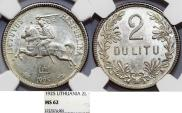 World Coins - Lithuania. Republic. Silver 2 Litu 1925. NGC MS62