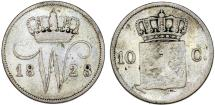 World Coins - Netherlands. William I. AR10 Cents 1828. Fine