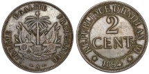 World Coins - Republic of Haiti , SINCE 1863. AE 2 Cent 1894. XF
