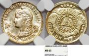 World Coins - HONDURAS, Republic. 1840-pres. Gold Peso 1888. NGC MS65!- TOP GRADE!
