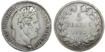 World Coins - France. Louis Philippe I. Silver 5 France 1834 A. Fine+