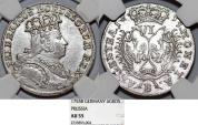 World Coins - Germany. Kingdom of Brandenburg-Prussia. Silesia. Frederic II The (1740-1786). AR 6 Krezuer 1755 B. NGC AU55