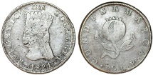World Coins - COLOMBIA. Republic (1820-1823). Provincial Coinage of Cundinamarca Province. 8 Reales 1821 JF. About VF