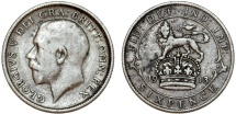 World Coins - Great Britain. King George V (1911-1935) Silver 6 Pence 1913. VF