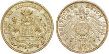 World Coins - Germany. City of Hamburg. Gold 20 Mark 1895-J. Choice AU
