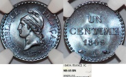 World Coins - France. II Republic (1848-1852). Cu Centime 1849 A. NGC MS65 BN!.