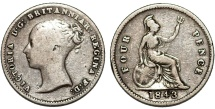 World Coins - Great Britain. Victoria. 1838-1901 . Silver 4 Pence (Groat) 1843. Fine+