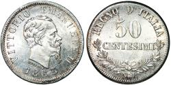 World Coins - Italy. Vittorio Emanuele II. AR 50 Centesimi 1863 MBN. UNC