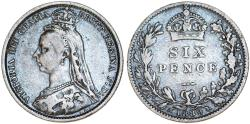 World Coins - Great Britain. Victoria. AR 6 Pence 1889. VF