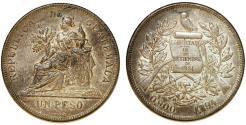 World Coins - Republic of Guatemala. AR Peso 1894. Toned Choice XF