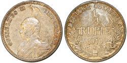 World Coins - German East Africa (Tanzania) . AR 1/4 Rupie 1910J. XF