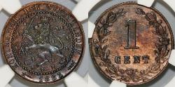 World Coins - Kingdom of Netherlands. Wilhelm III. AE 1/2 Cent 1883. NGC MS62BN!