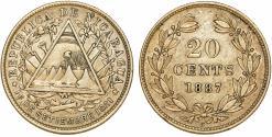 World Coins - Republic of Nicaragua. AR 20 Centavos 1887. XF.